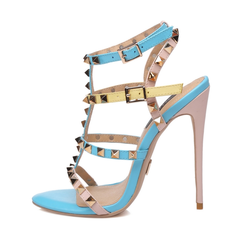 Giaro GANESHA colorful strappy high hill sandals with gold studs