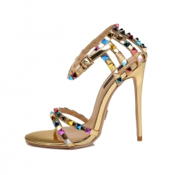 Giaro SANTA CLARA liquid gold high heel sandals with colorful studs