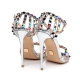 SANTA CLARA liquid gold high heel sandals with colorful studs