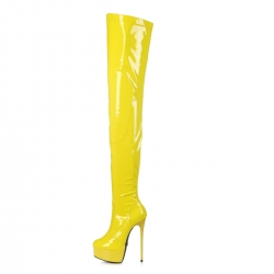 Giaro GALANA Yellow thigh high stiletto platform boots