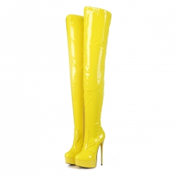 GALANA Yellow thigh high stiletto platform boots