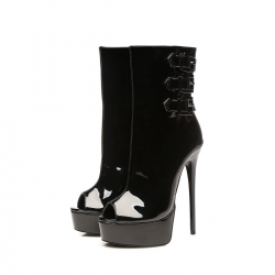 Giaro MARUCKLE black shiny peep toe ankle boots