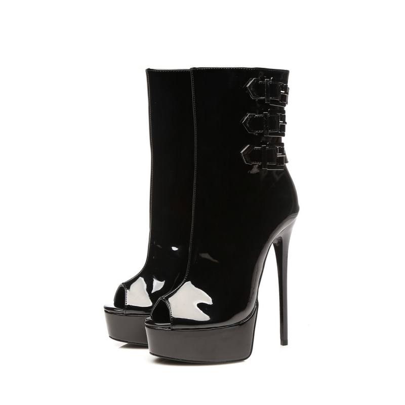 sold worldwide super cute lace up in Giaro MARUCKLE black shiny peep toe ankle boots