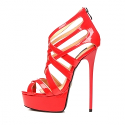 Giaro MISS ZIGGY red shiny strappy high heel sandals