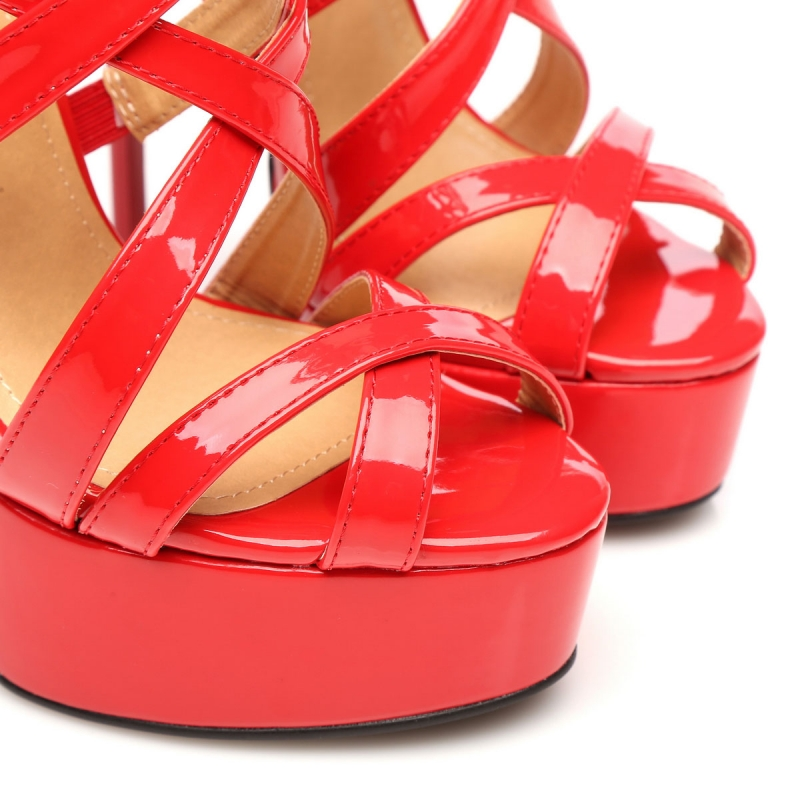 43a3d78f776 Giaro MISS ZIGGY red shiny strappy high heel sandals