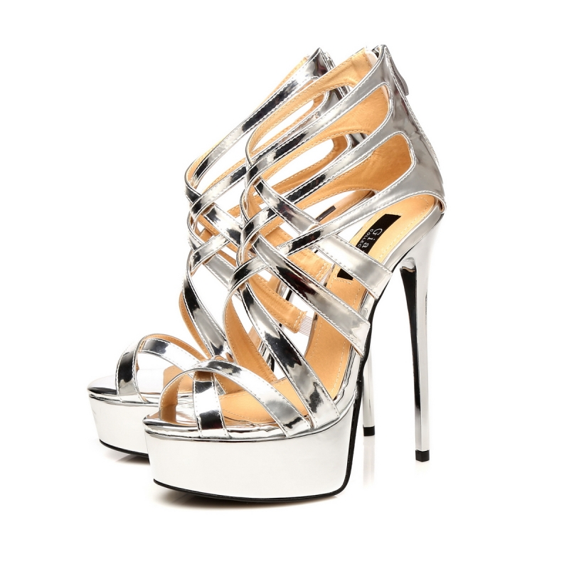 Giaro Miss Ziggy Liquid Silver Shiny Strappy High Heel Sandals-3479