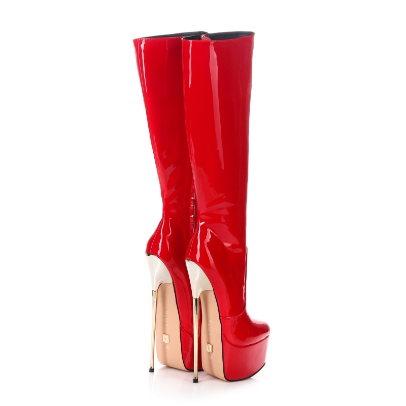 f5b8c5ad179 Giaro HERO red lack platform boots with extremely high gold stiletto ...
