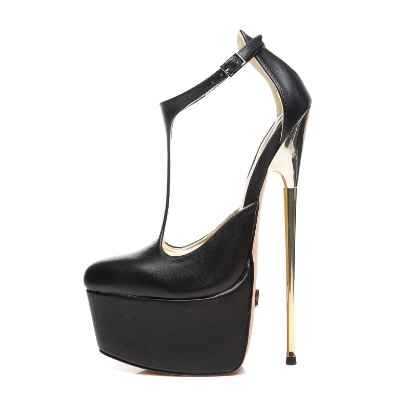 Giaro HERO T-STRAP black sandals with gold stiletto heel