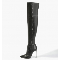 BADURA ELENA natural leather overknee boots with silver studs supermodel Ania Jagodzińska