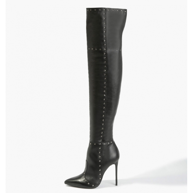 BADURA ELENA natural leather overknee boots with silver studs
