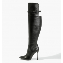 BADURA ELENA natural leather overknee boots with a strap