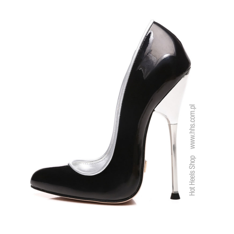 Giaro SLICK ultra shiny pumps with silver heel