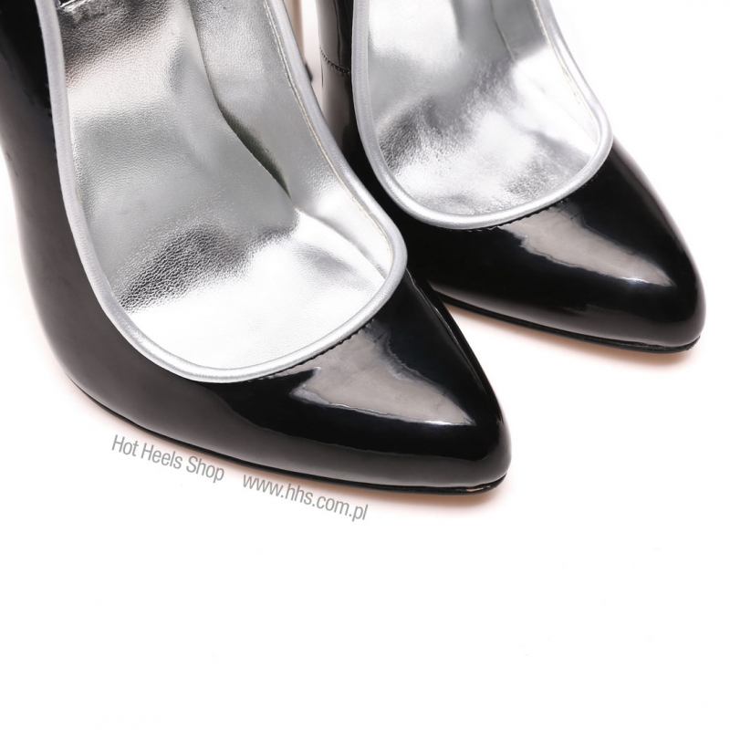 0d548d80a25 Giaro SLICK ultra high shiny black pumps with silver heels