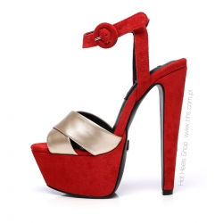 Giaro SISI red velour sandals with gold straps and chunky heels