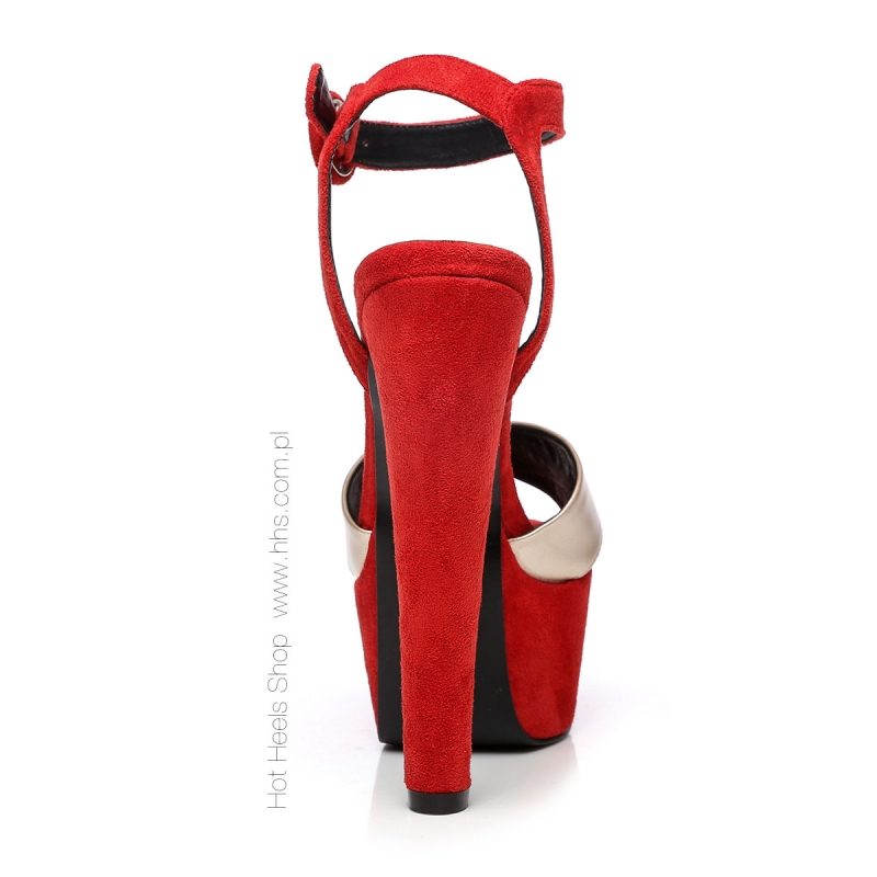 c27da8801fd7b Giaro SISI red velour sandals with gold straps and chunky heels