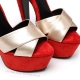 Giaro SISSI red velour sandals with gold straps