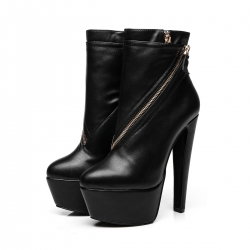 Giaro SMILE black ankle boots with zip on side and chunky heels