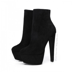 Giaro SELENA Black Velour ankle platform boots with chunky heels