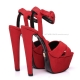 Giaro SISSI Red velour sandals with chunky heels