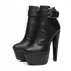 Giaro SCOTT black ankle boots with buckle and chunky heels
