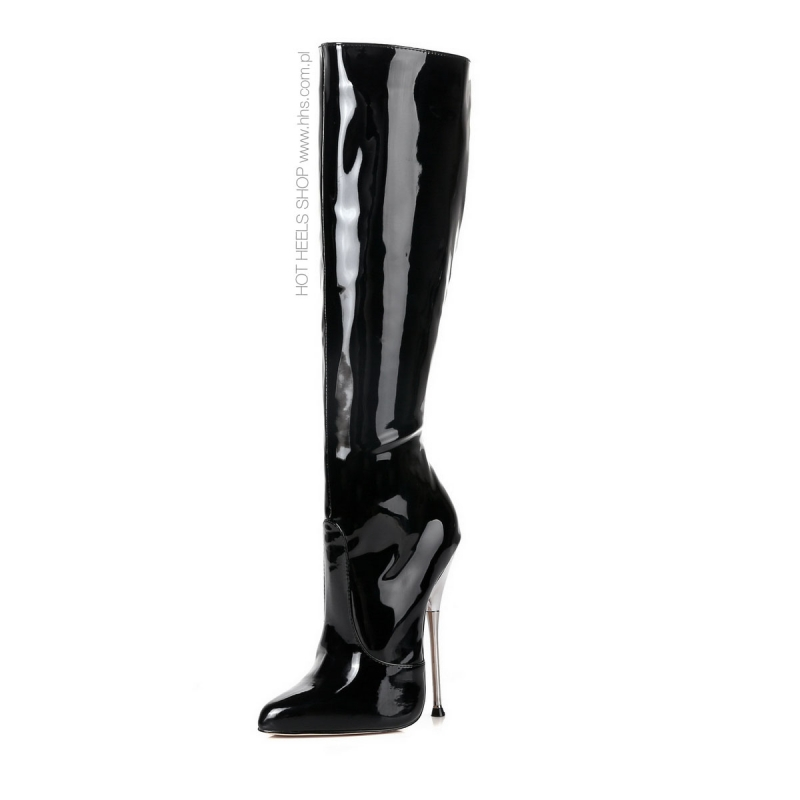 bf4886332f1 Giaro SLICK black shiny boots with metal heels