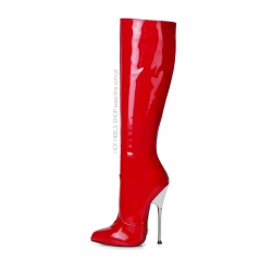 Giaro BE BRAVE Red shiny boots with silver heel