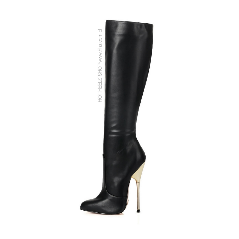 Giaro BE BRAVE black leather look boots with gold heel