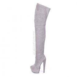 Giaro SURVIVOR Grey velour thigh high boots with chunky heel