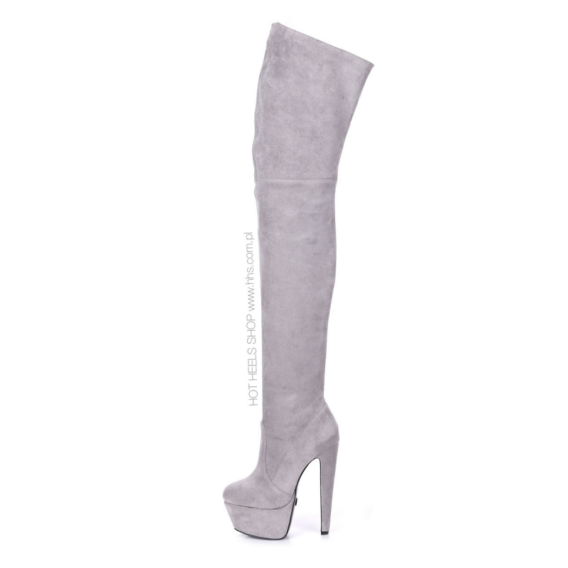 7dcff683992 Giaro SURVIVOR Grey velour thigh high boots witch chunky heels ...
