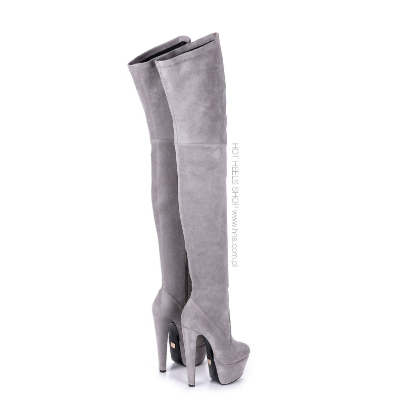 15f5dad80be ... Giaro SURVIVOR Grey velour thigh high boots witch chunky heels ...