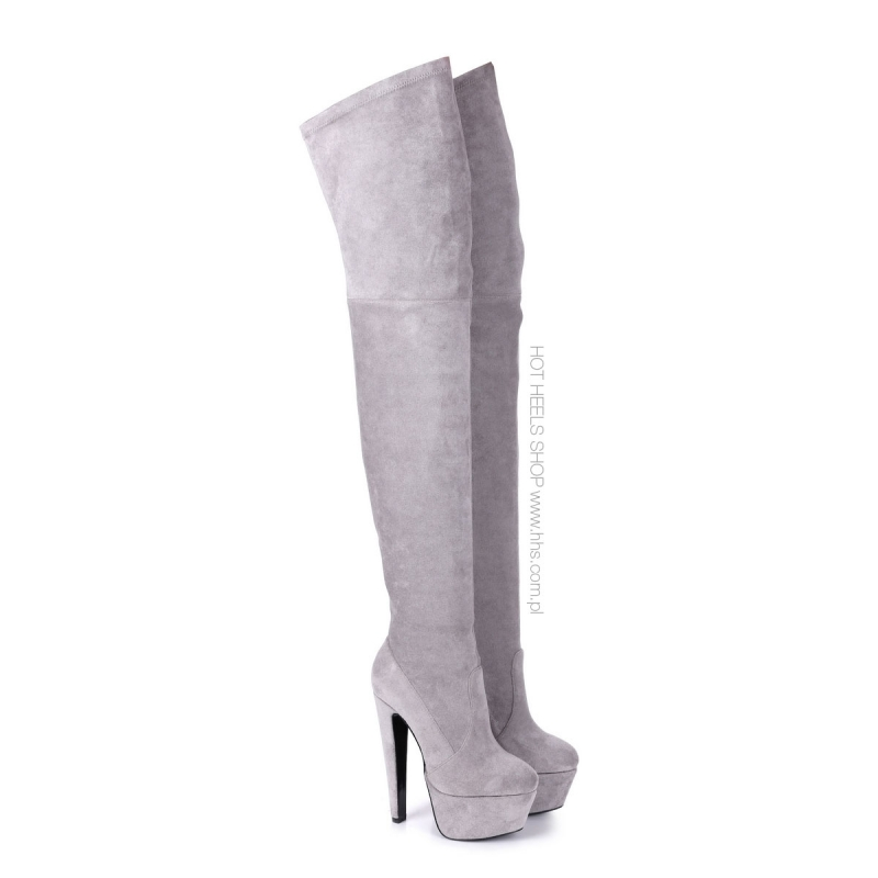 b51498948e99 ... Giaro SURVIVOR Grey velour thigh high boots witch chunky heels ...