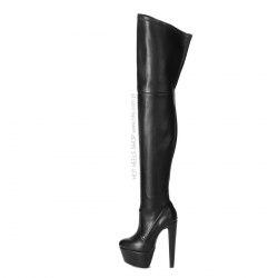 Giaro SURVIVOR Black matte thigh high boots with chunky heel