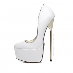 HERO white shiny platform pumps with gold high heels