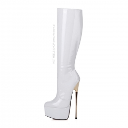 Giaro HERO white shiny gold stiletto platform boots