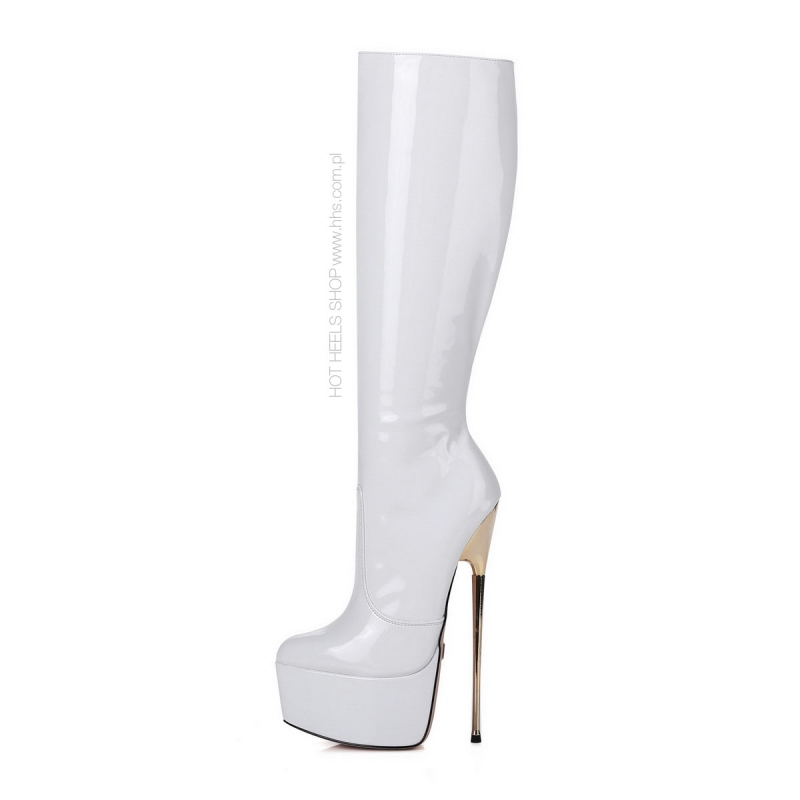 Giaro HERO white shiny platform boots with gold stiletto