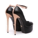 Giaro GALANA black matte pumps with nude shiny high heels and ankle strap