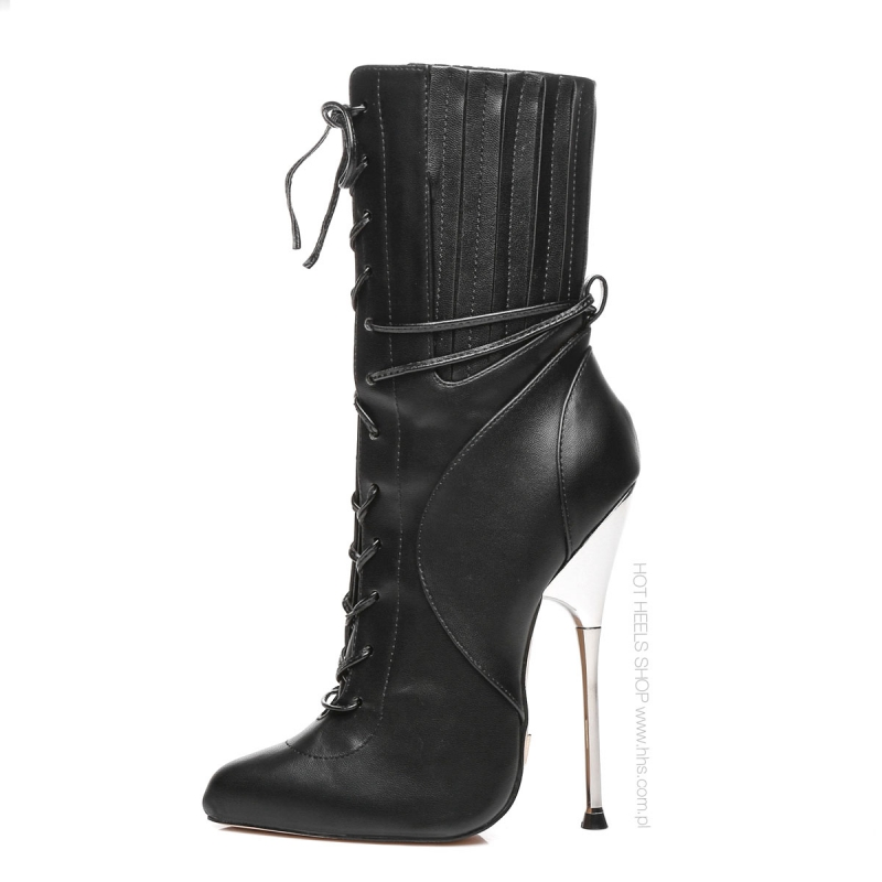 Giaro BURN IT ankle high boots with silver heel and front lace-up