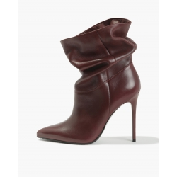 Badura JAZMIN burgundy boots with crinkled uppers, Italian grain leather, high heels