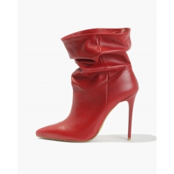 Badura JAZMIN Red nonchalant high heel boots, Italian grain leather