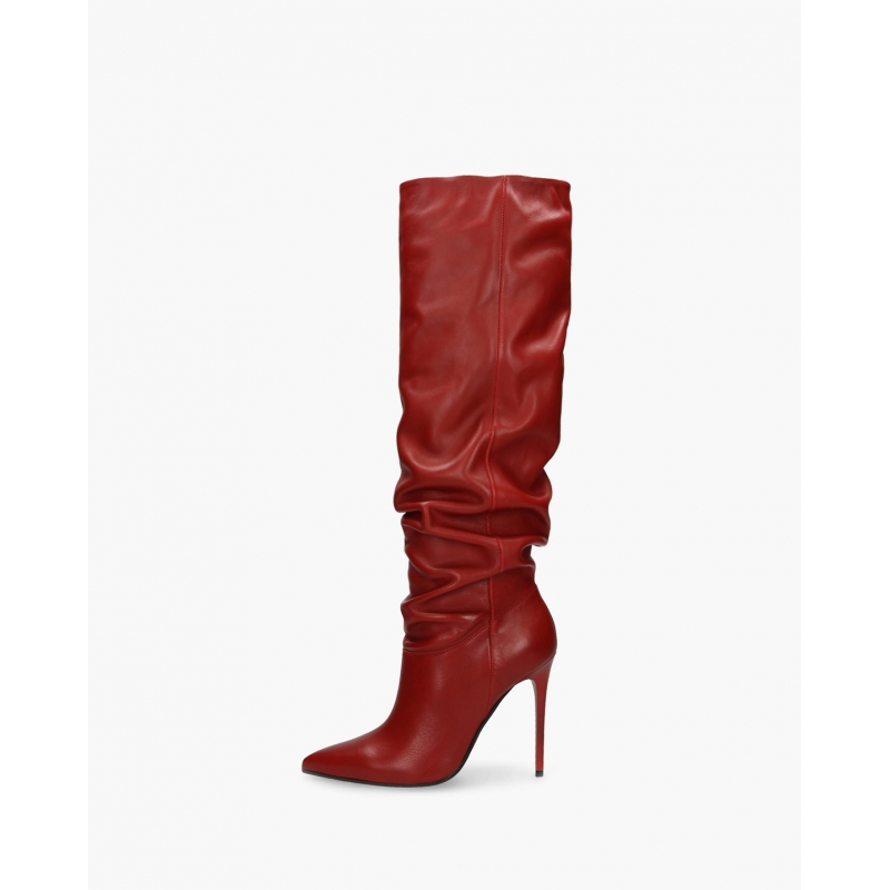 Badura JAZMIN dark red wrinkled boots with loose upper, natural Italian leather, high heels