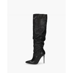 Badura JAZMIN black wrinkled boots with loose upper, natural Italian leather, high heels
