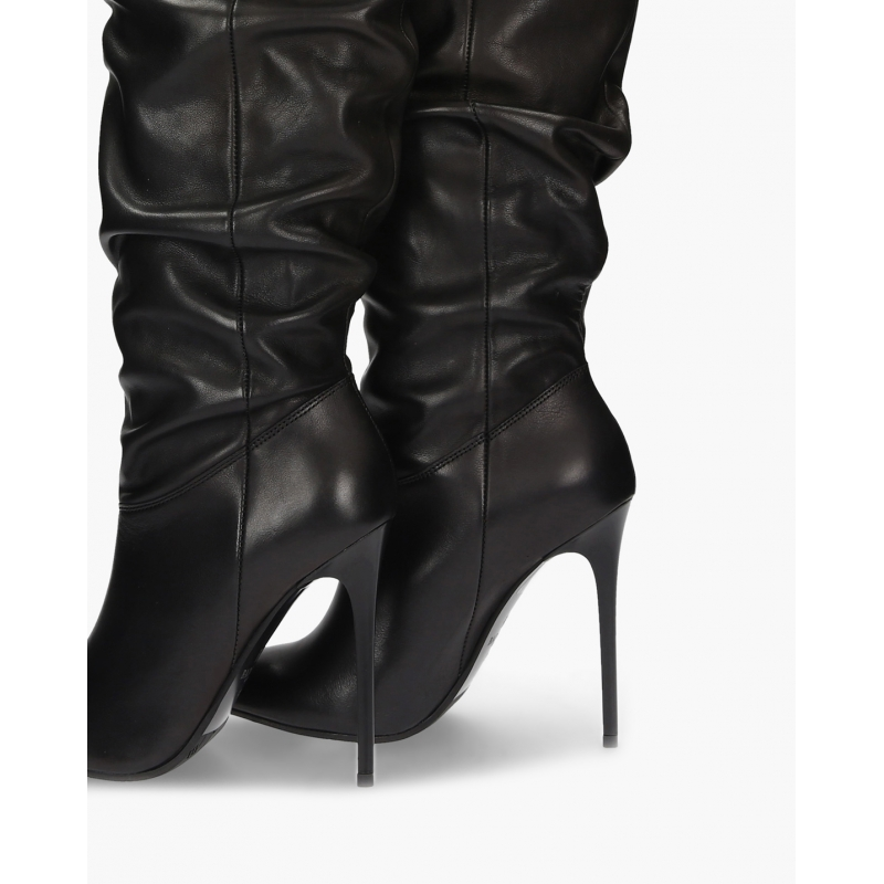 Glamorous Badura Black Boots Heavily Crinkled Uppers