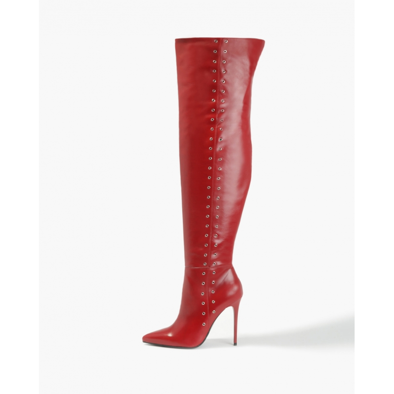 BADURA ELENA natural leather red overknee boots with silver studs