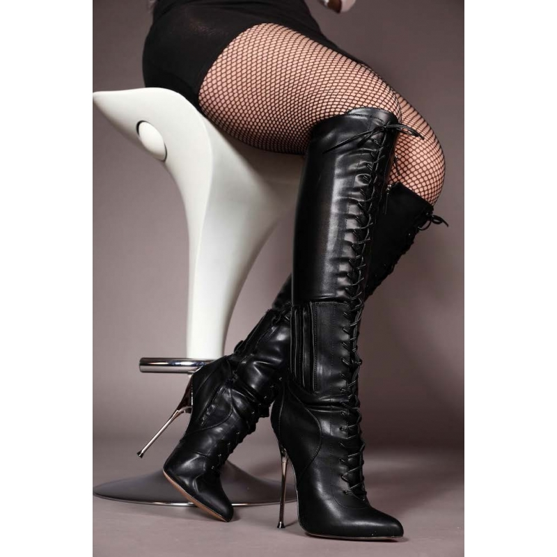 knee high boots with front lace