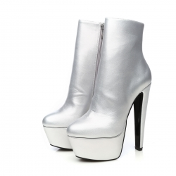 Giaro SELENA Silver ankle platform boots with chunky heels