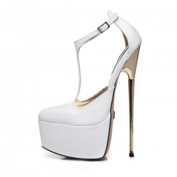 Giaro HERO T-STRAP white shiny sandals with gold stiletto heel