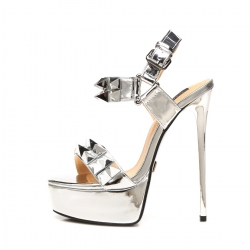 Giaro MISS GIARO liquid silver high heel sandals with big spikes