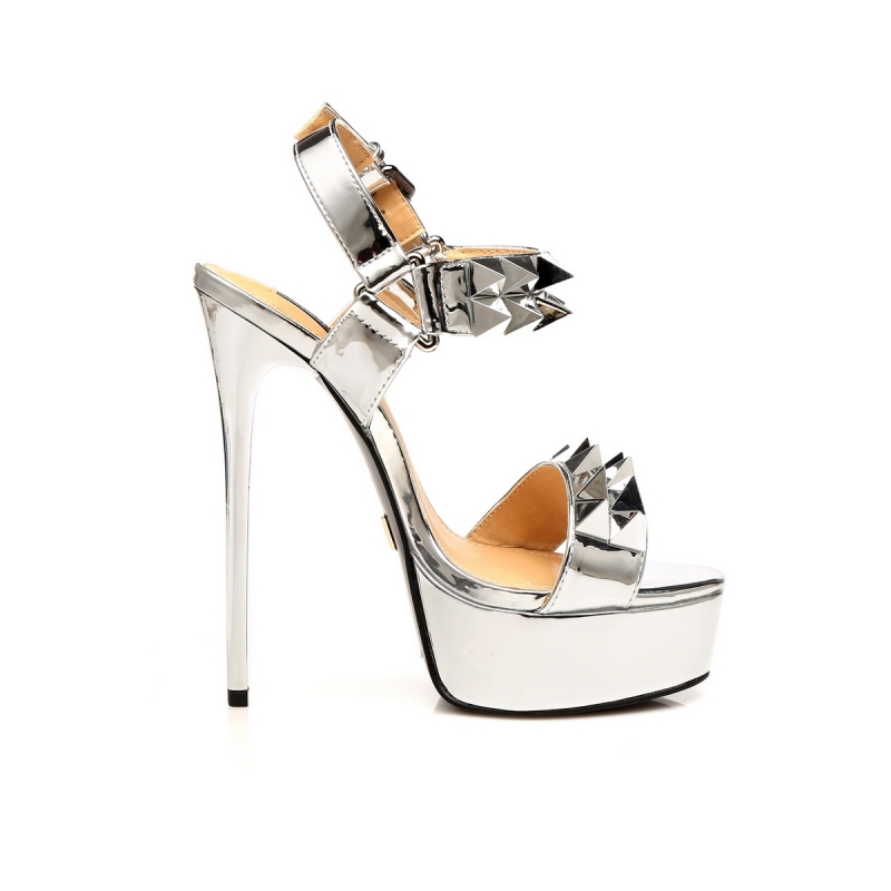 3c4bd53299d ... Giaro MISS GIARO liquid silver sandals with big spikes ...