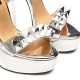 Giaro MISS GIARO liquid silver sandals with big spikes