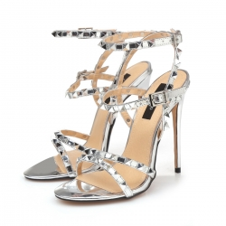 Giaro GRENADA liquid silver high heel sandals with silver studs